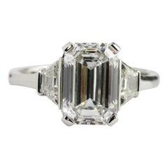 GIA Certified 3.15 Carat Emerald Cut Platinum Diamond Engagement Ring