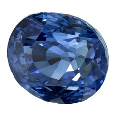 GIA Certified 4.56 Carat Unheated Oval Blue Sapphire