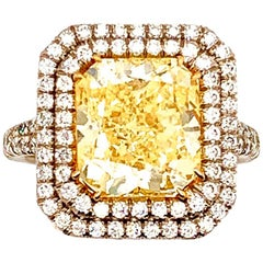 ISSAC NUSSBAUM NEW YORK GIA Certified 4.68 Carat Yellow Radiant Cut Diamond