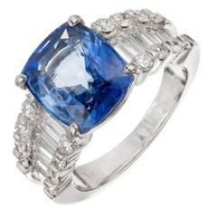GIA Certified 6.03 Carat Cushion Cut Sapphire Diamond Platinum Engagement Ring