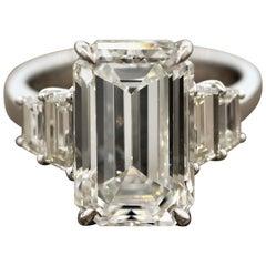 GIA Certified 6.40 Carat Emerald Cut Diamond Engagement Ring, J-VVS2