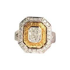 GIA Certified .74 Carat Radiant Cut Hand Engraved Rose & White Gold Diamond Ring