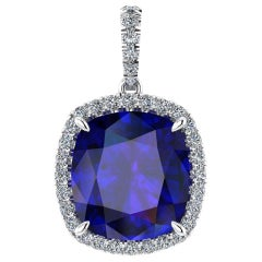 GIA Certified 9.61 Carat Tanzanite Cushion Diamond Halo 18 Karat Gold Pendant
