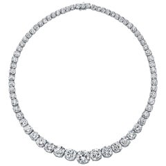 GIA Certified Graduated Riviera Diamond Necklace