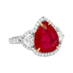 GIA Certified Platinum 6.27 Carat Ruby Diamond Ring