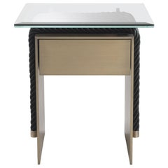 Gianfranco Ferre Glasgow Night Table in Metal and Glass Top