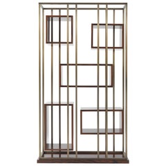 Gianfranco Ferre Mackintosh Bookcase in Brass and Wood