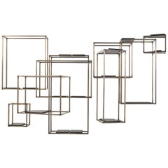 Gianfranco Ferré Matrix Bookcase in Brass and Leather