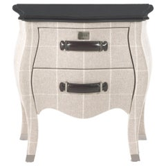Gianfranco Ferrè Matthew Night Table in Poplar and Squares Beige Iconic Wool