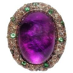 Gianni Lazzaro 23.81 Amethyst Tsavorite Black Brown Diamonds Pink 18K Gold Ring