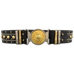 GIANNI VERSACE Black Leather Silver & Gold Tone Studded Medusa Belt