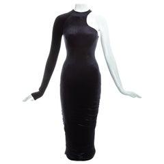 Gianni Versace black velvet one sleeve dress, fw 2004