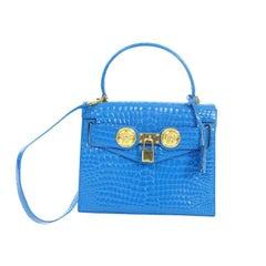 Gianni Versace blue croc embossed kelly mini bag, 1997