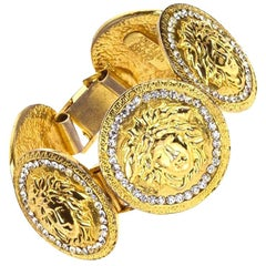 Gianni Versace Massive Medusa Bracelet With Rhinestones