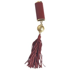 Gianni Versace Red Leather Lighter Holder with Tassel