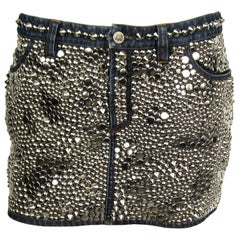Gianni Versace Skirt Studded Denim Mini 1990s
