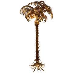 Gilded Palm Tree Floor Lamp by German Designer Hans Kögl, 1970