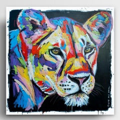 Painting - Gillie and Marc - Original Art - Colorful - Animal - Wild - Lioness