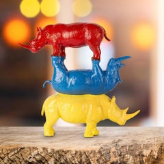 Resin Sculpture - Gillie and Marc - Rhino Wildlife - Stack - Blue Red Yellow