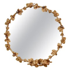 Gilt Bronze Decorative Wall Mirror by Fondica, circa 1990, France