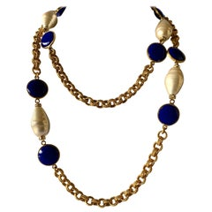 Gilt Chain Navy Blue and Pearl Pate De Verre Necklace