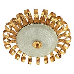 Gilt Iron and Glass Sunburst Crown Large Ceiling Flush Mount with Scrolled Frame