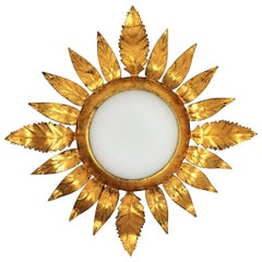 Gilt Iron Sunburst Leafed Light Fixture with Milk Glass Shade, France, 1950s