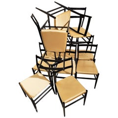 Gio Ponti 12 Leggera Chairs with Gold Satin Seat Edited by Cassina, Milano 1950s