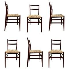 "Gio Ponti 646 ""Leggera"" Dining Chairs for Cassina, 1956, Set of 6"