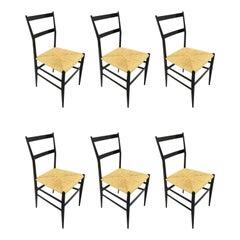 Gio Ponti Superleggera Chairs Set of Six, Italy, 1958
