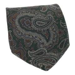 Giorgio Armani Gray Silk Paisley Elegant Classic Tie