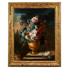 Giuseppe Lavagna, Italian Oil on Canvas Still Life with Vase and Flower