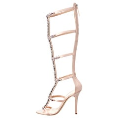Giuseppe Zanotti NEW Blush Satin Crystal Cut Out Evening Sandals Heels in Box