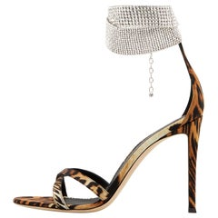 Giuseppe Zanotti NEW Leopard Leather Rhinestone Evening Sandals Heels in Box