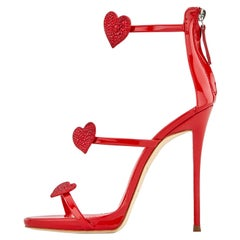 Giuseppe Zanotti NEW Red Patent Heart Crystal Evening Sandals Heels in Box