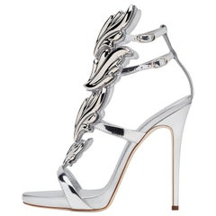 Giuseppe Zanotti NEW Silver Patent Metal Cruel Evening Sandals Heels in Box