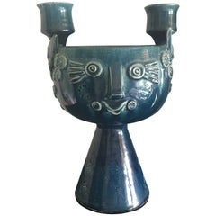 Glazed Ceramic Candleholder by Bjørn Wiinblad