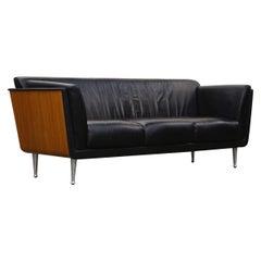 Goetz Sofa by Mark Goetz for Herman Miller in Walnut and Black Leather, Signed