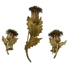 Gold and Silver Thistle Pin and Earrings by Bucellati