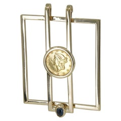 Gold Cartier Money Clip with $1 Gold Coin