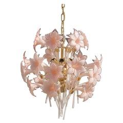 Gold Pink Round Chandelier Murano Franco Luce Design 1970s Italian Flowers