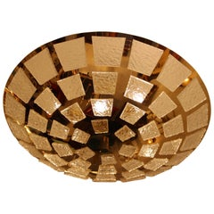 Gold-Plated Pendant Flush Light with Textured Translucent Murano Glass Plaques