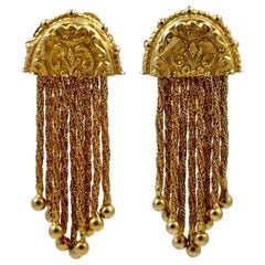 Gold Tone Ball and Twisted Chain Etruscan style Drop Earrings circa 1950s