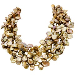 Golden Keshi Pearl 8 strand necklace,  gold plated , Eco-luxe by Sylvia Gottwald
