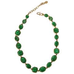 Goossens Paris Green Tinted Rock Crystal Necklace