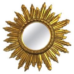 Gorgeous Austrian Starburst Sunburst Gilded Wood Mirror, circa 1960s