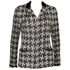 Gorgeous Chanel Fantasy Frayed Tweed Maison Lesage Jacket Leather Trimming