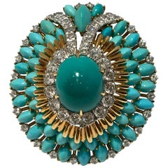 David Webb 35 Carat Persian Turquoise Diamond 18 Karat Yellow Gold Brooch Pin