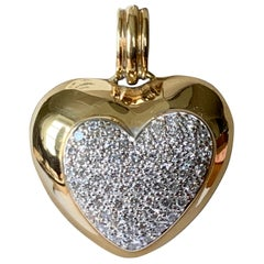 Gorgeous Solid 18 Karat Gold Diamond Heart Pendant with Clip Device