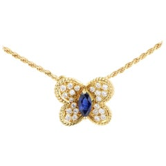 Graff 0.30 Carat Sapphire 0.40 Ct Diamond Yellow Gold Butterfly Pendant Necklace